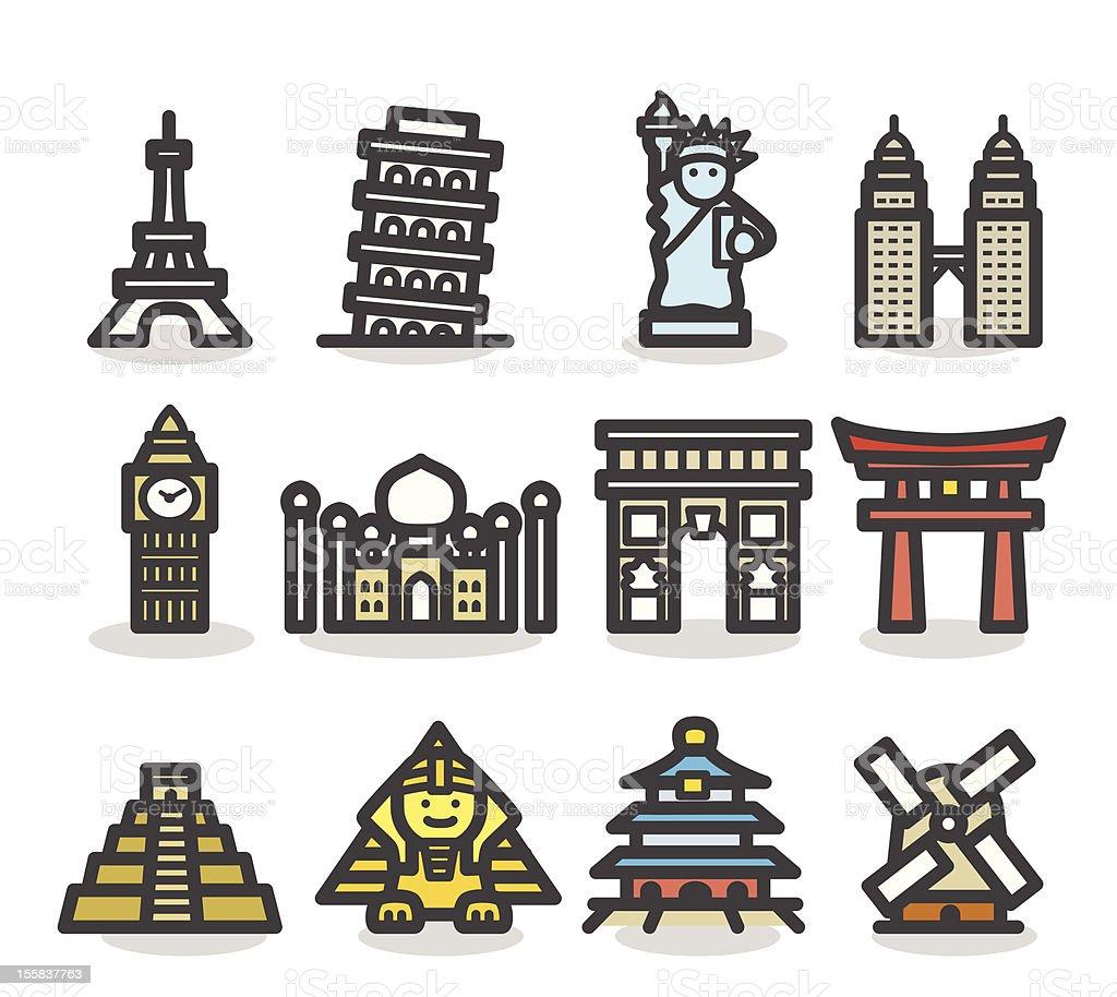 Cute landmark,monuments Icon set vector art illustration