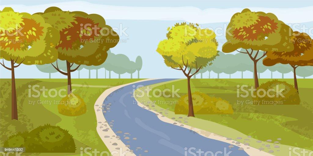 かわいい風景森川海岸ベクトルイラスト分離の木 イラストレーションの