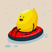 Cute Lemon cartoon character sledding on snow tube. Illustration of winter sport and eating healthy. Vector flat funny fruit with emotion isolated on background.