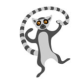 Cute lemur dancing and holding its tail. Cartoon exotic animal isolated on white background. Flat vector illustration.