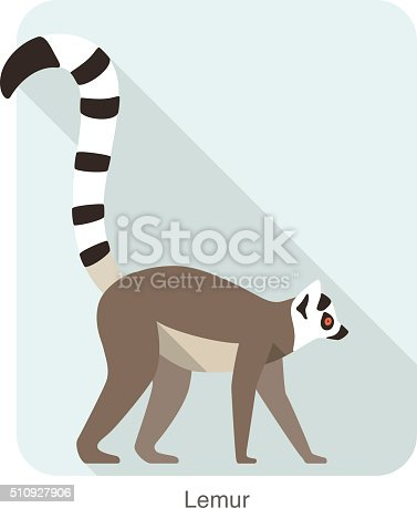 istock Cute lemur walking on the ground, vector 510927906