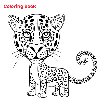 Cute Leopard, coloring book page