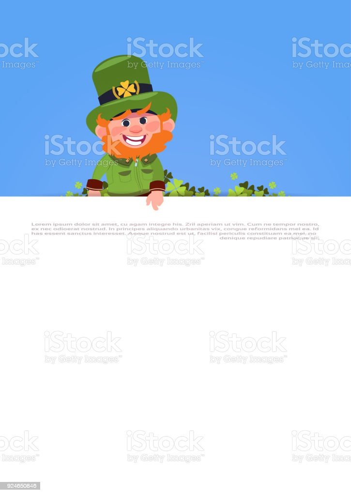 cute leprechaun holding white template banner st patricks day card