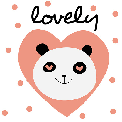 Cute lettering card design with smiling pandas face, flat vector illustration.