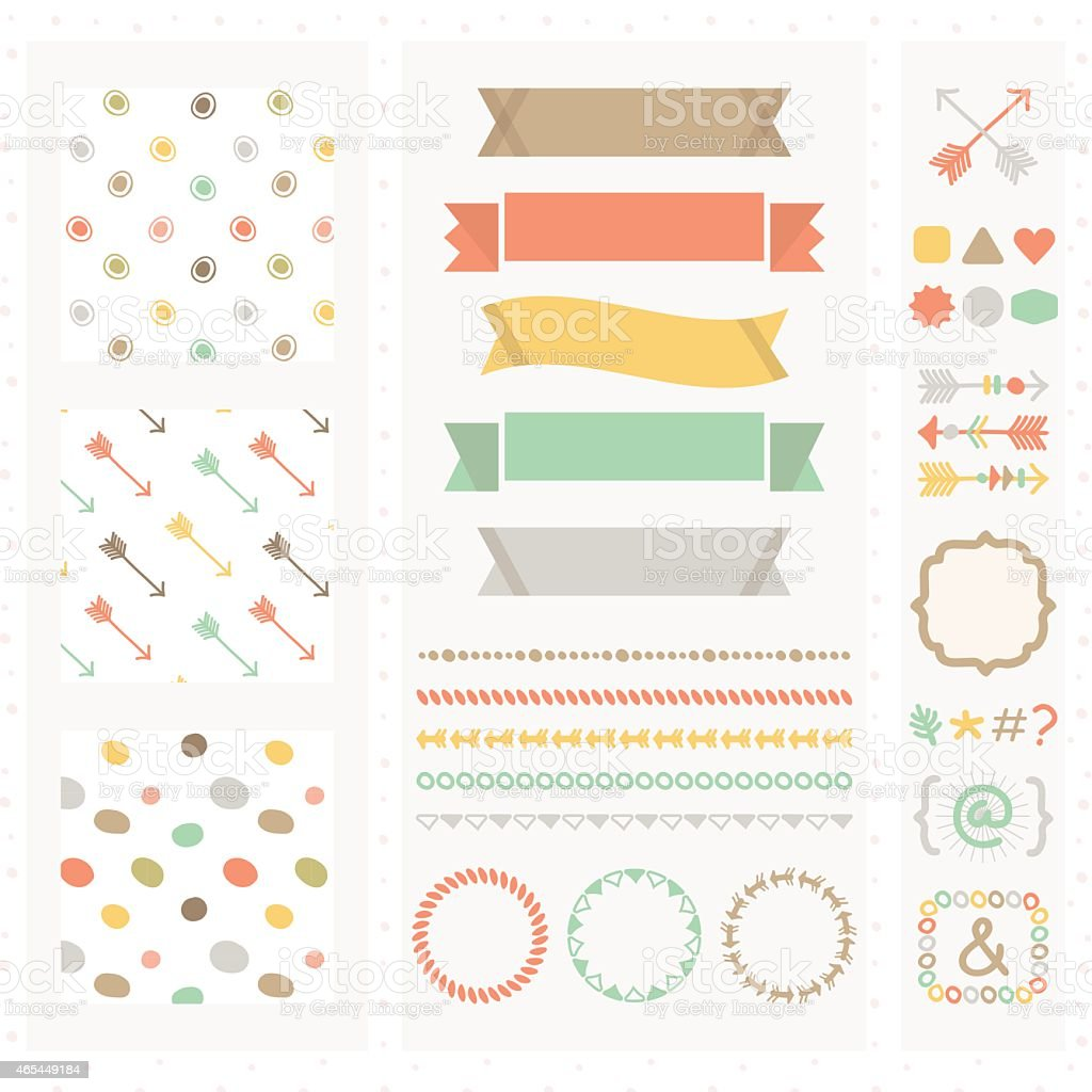 Cute light color design elements set vector art illustration
