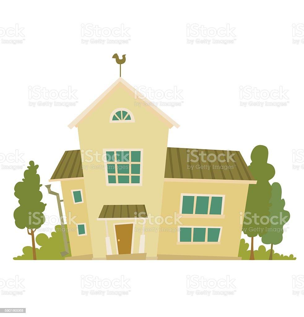 Ilustracion De Cute Light Yellow House Y Mas Vectores Libres De