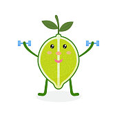 Cute lime cartoon character doing exercises with dumbbells. Eating healthy and fitness. Vector illustration isolated on background.