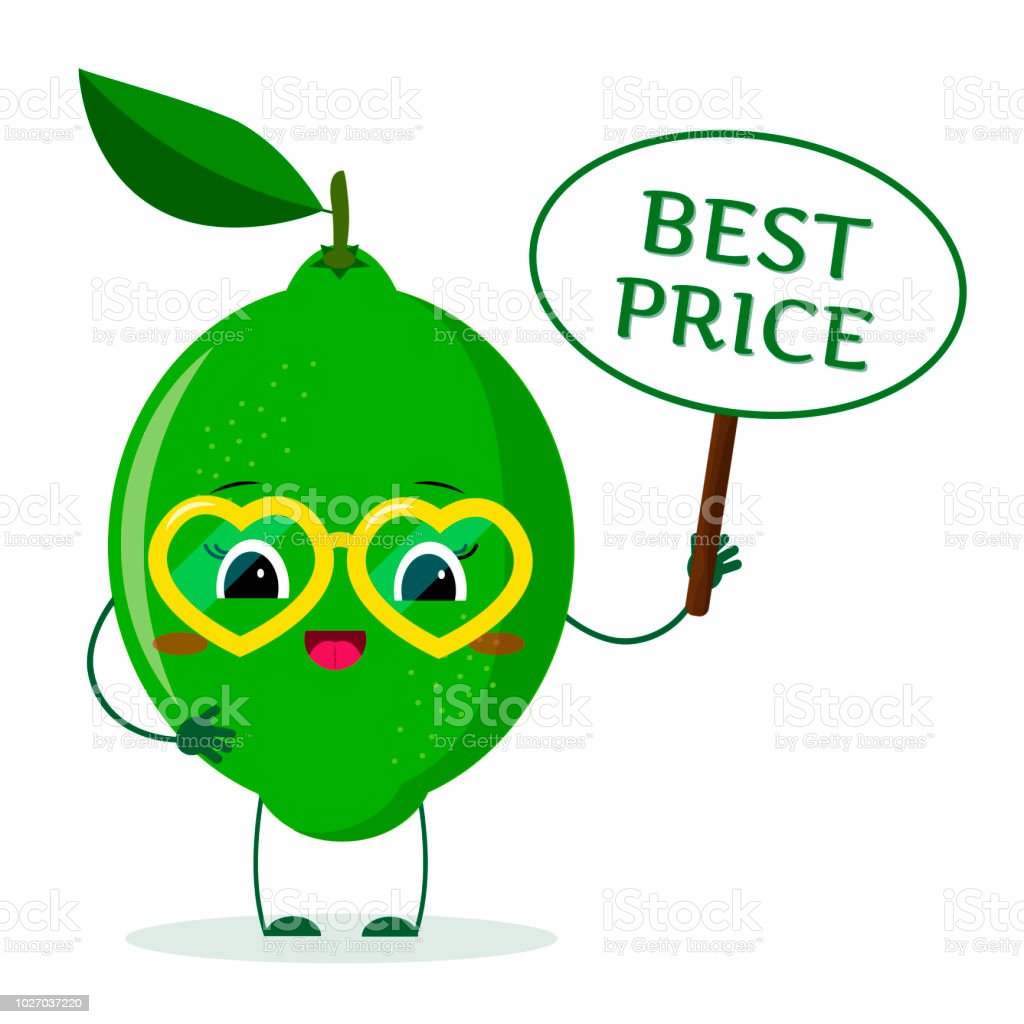 Cute Lime Cartoon Character In Red Heart Glasses In The