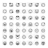 Vector illustration of a big collection of cute and line art black and white emoticons for design projects and and concepts.
