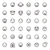 Vector illustration of a set of cute line art emoticons