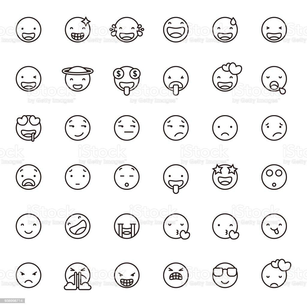 Emoticons de arte linha bonito conjunto 1 - ilustração de arte em vetor