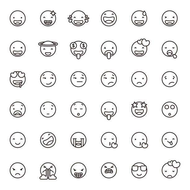 Cute line art emoticons set 1 vector art illustration