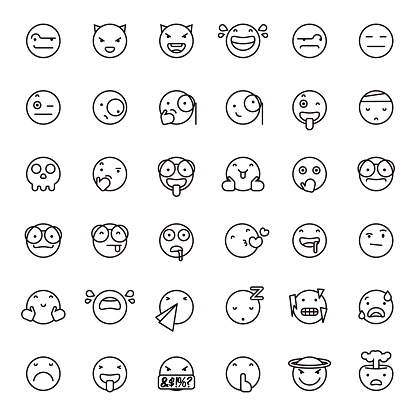 Cute line art emoticons set 3