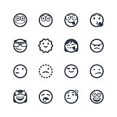 Vector illustration of a set of cute and cartoony line art emoticons