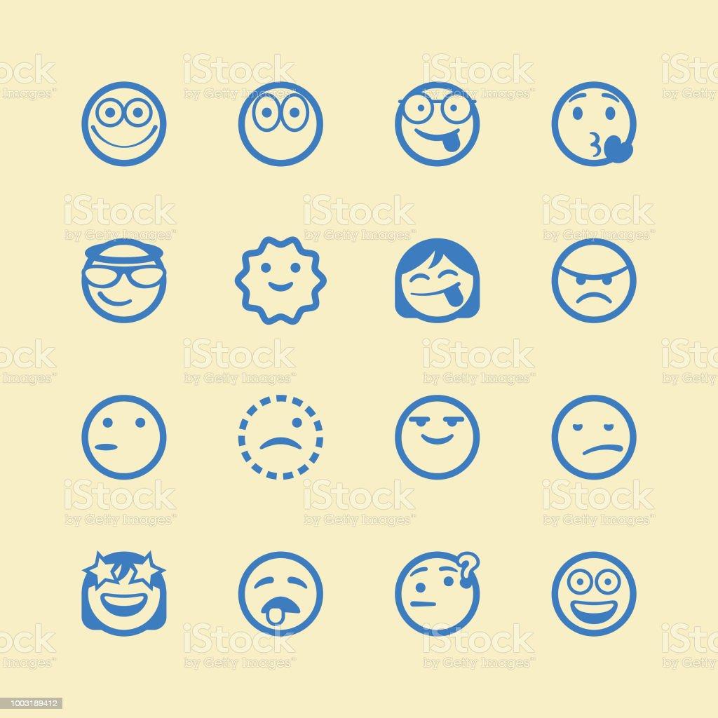 Conjunto de emoticonos lindo línea arte - ilustración de arte vectorial