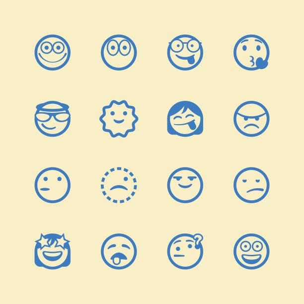 Cute line art emoticons set Vector illustration of a set of cute and cartoony line art emoticons careless stock illustrations