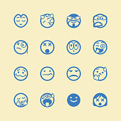 Vector illustration of a set of cute and cartoony line art emoticons.