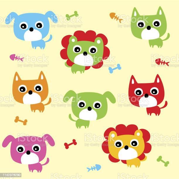 Cute lion and puppy and kitten nursery wallpaper vector id1142378290?b=1&k=6&m=1142378290&s=612x612&h=g2rymkjtdtvrapsq3lxk45woepaf5o50gsokmb7l9qs=