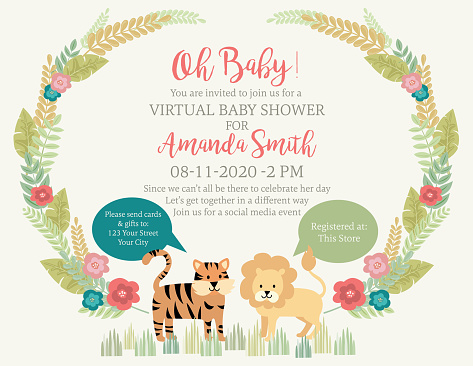 Cute Lion And Tiger Jungle Animals Baby Shower Invitation