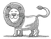 Hand-drawn vector drawing of a Cute Lion Animal. Black-and-White sketch on a transparent background (.eps-file). Included files are EPS (v10) and Hi-Res JPG.