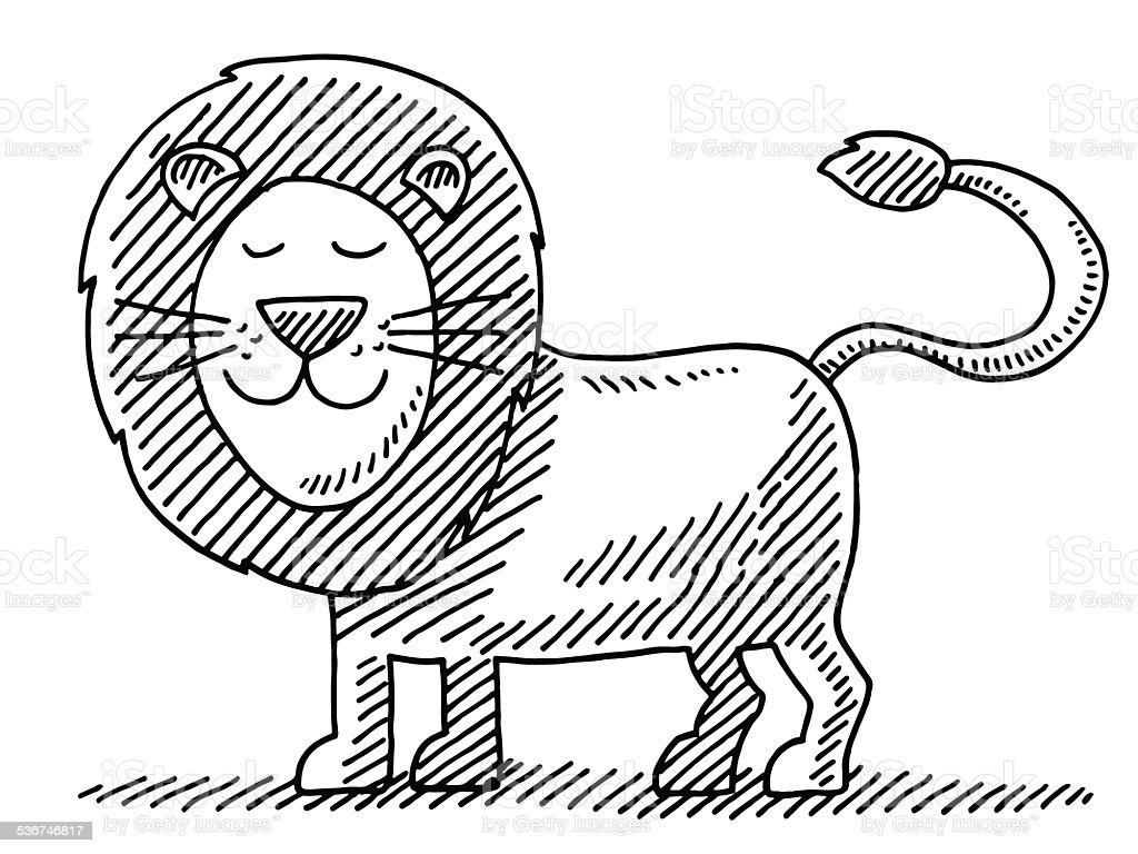 Cute Lion Animal Drawing vector art illustration