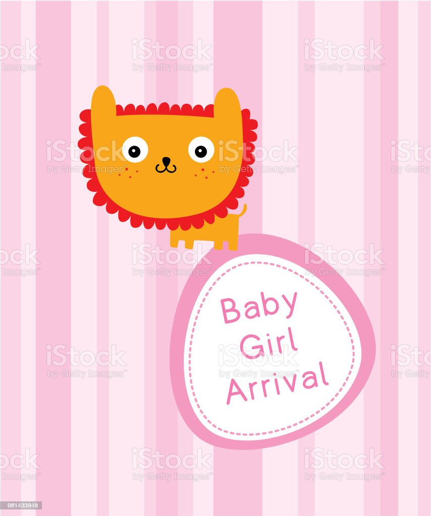 cute lion baby arrival announcement card stock vector art more