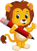 Cute lion cartoon holding pencil
