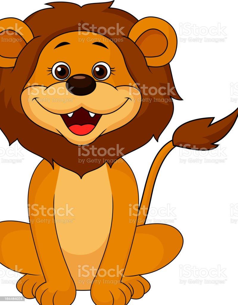 Cute lion cartoon smiling royalty-free stock vector art
