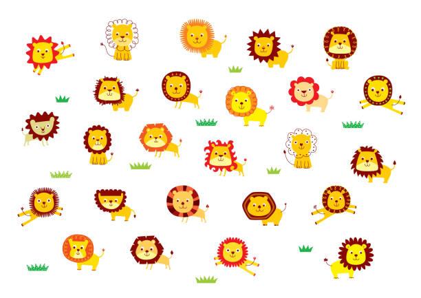 Süße Löwe cartoon Vektor-Sammlung – Vektorgrafik