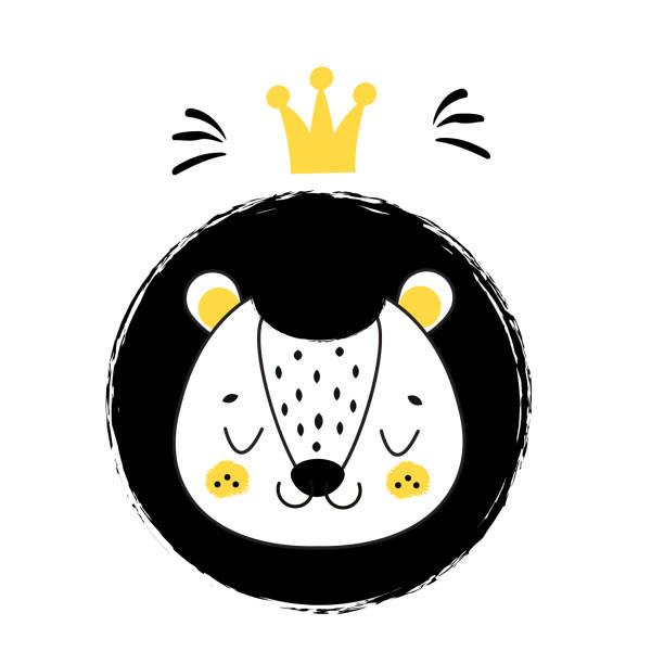 Cara linda del León. León dibujado de la mano con la corona en estilo escandinavo. Niños, niños y bebés moda y diseño. Decoración de cuarto de niños. Aislado clip art - ilustración de arte vectorial