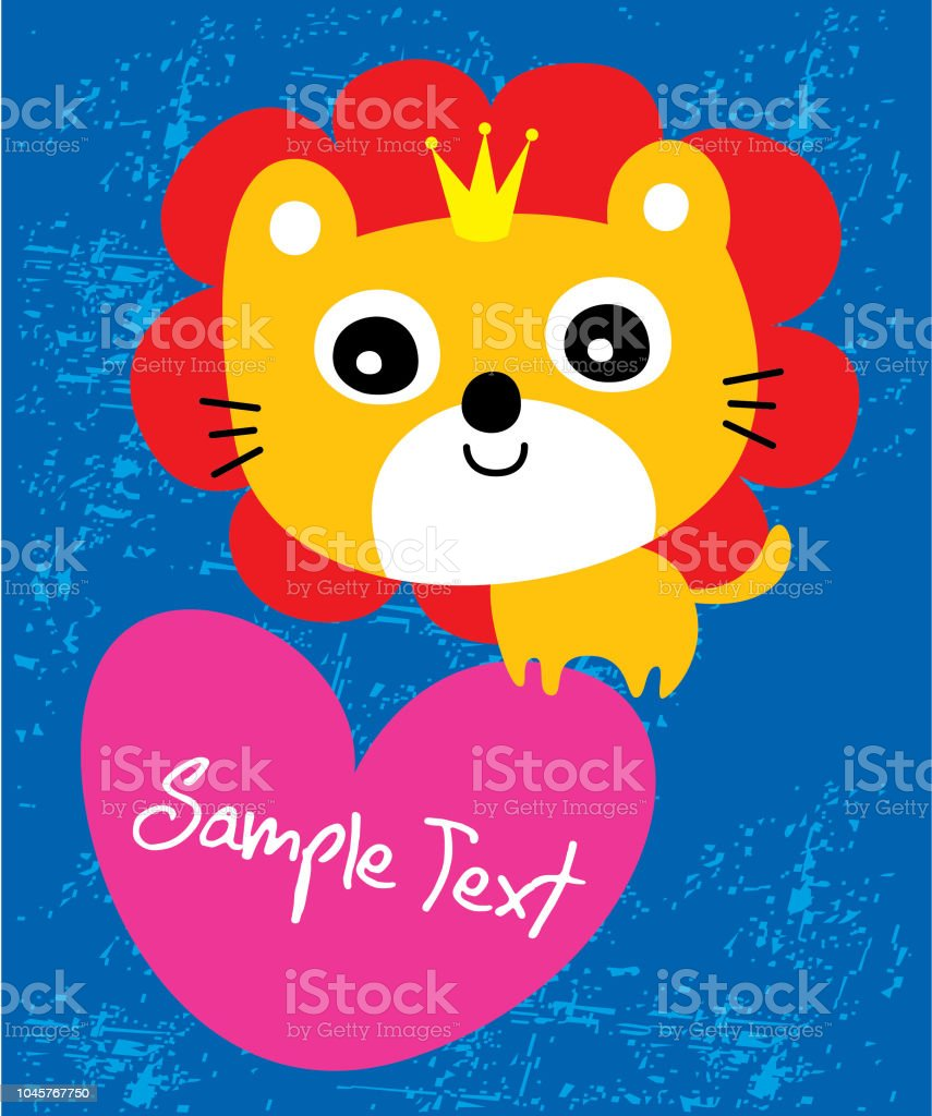 Cute Lion King Or Queen Valentine Greeting Card Vector Stock Vector