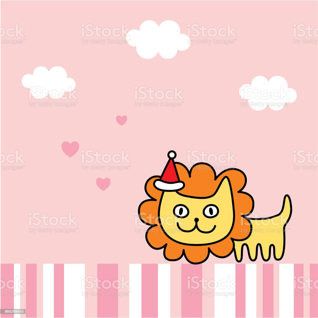 cute lion merry christmas greeting card vector royalty-free cute lion merry christmas greeting card vector stock vector art & more images of animal