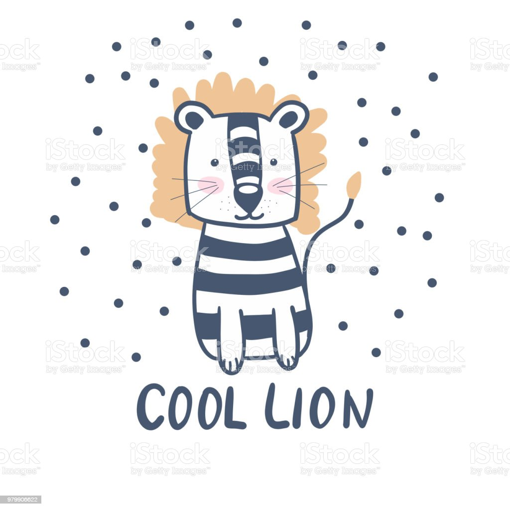 Lion Mignonne Style Scandinave Des Enfants Pour Une Carte