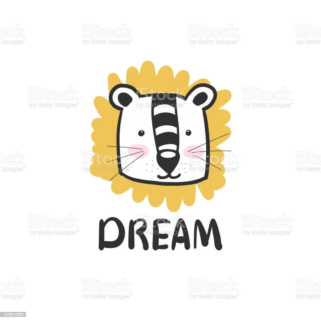Lion Mignonne Style Scandinave Des Enfants Pour Une Carte Postale Imprimer Sur Un Tshirt Pour Votre Conception Museau Vecteurs Libres De Droits Et Plus D Images Vectorielles De Carre Composition Istock