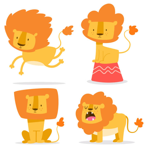 Cute lion simple vector cartoon set. Flat funny African animal character isolated on white background. Cute lion flat simple vector cartoon character set. lion cub stock illustrations