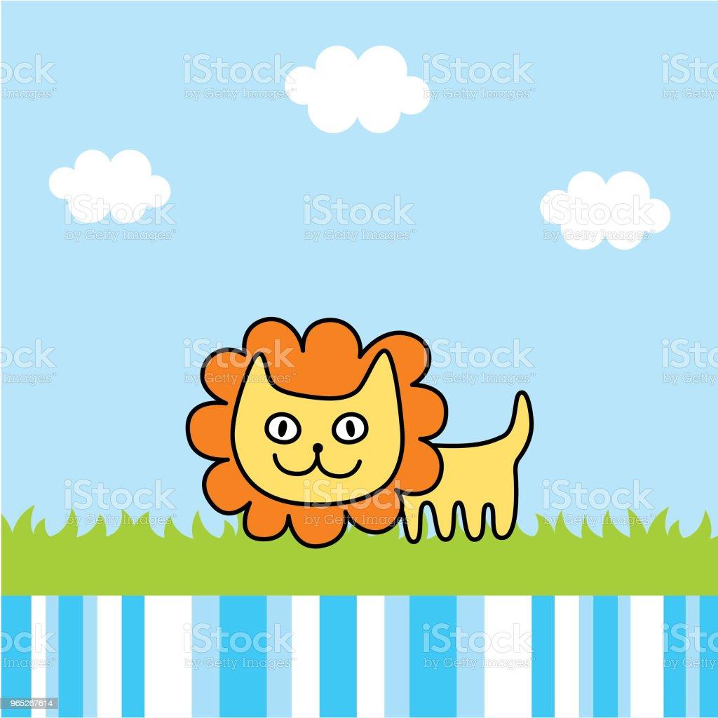 cute lion spring picture vector - Grafika wektorowa royalty-free (Baby Shower)