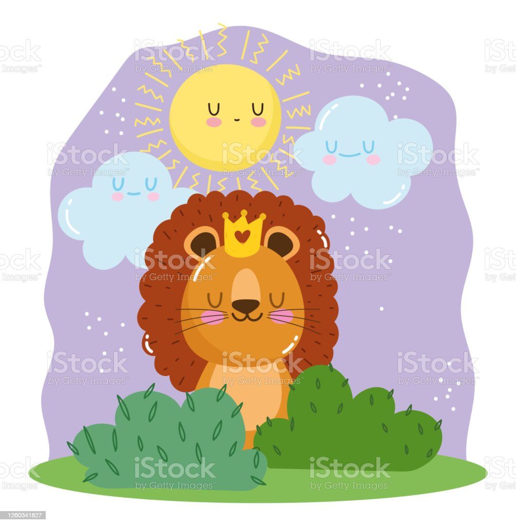 Cute Lion With Crown Sitting On Grass Cartoon Animal Adorable Wild Character Stock Illustration Download Image Now Istock With matthew broderick, jeremy irons, james earl jones, whoopi goldberg. https www istockphoto com vector cute lion with crown sitting on grass cartoon animal adorable wild character gm1260341827 369143386