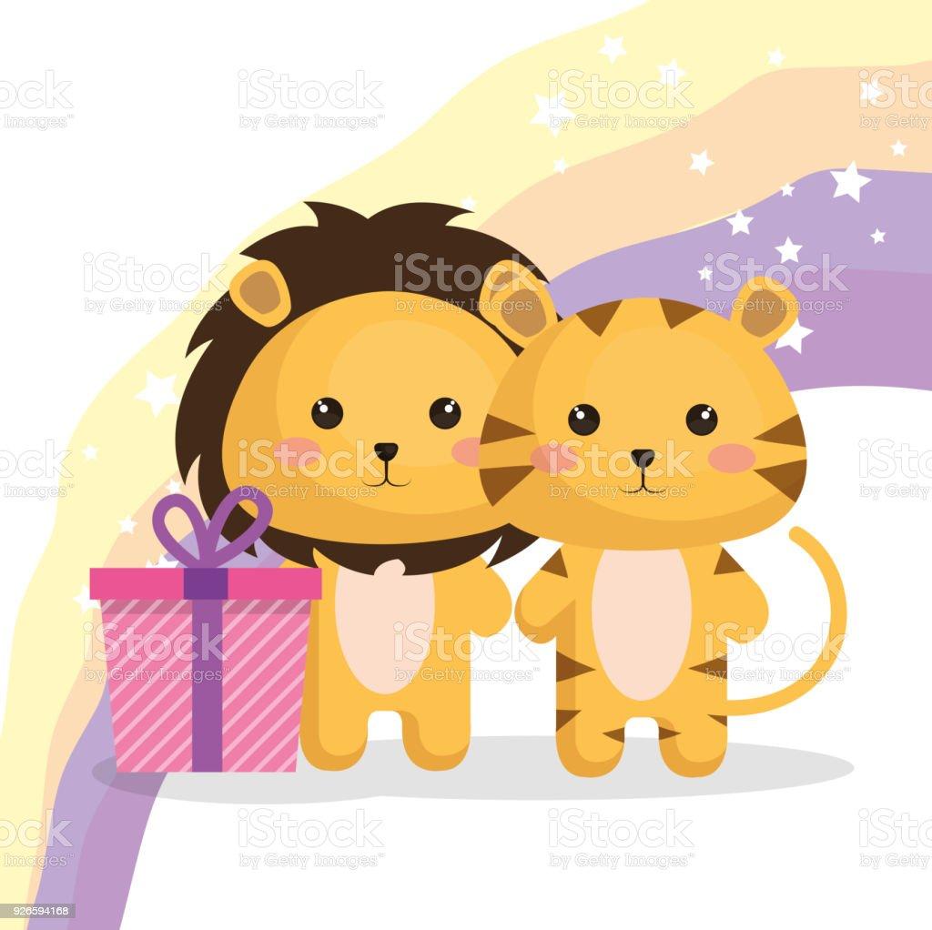 かわいいライオンのカップルかわいいバースデー カード - お祝いの