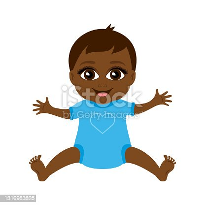 istock Cute little african american baby boy in blue clothes icon vector 1316983825