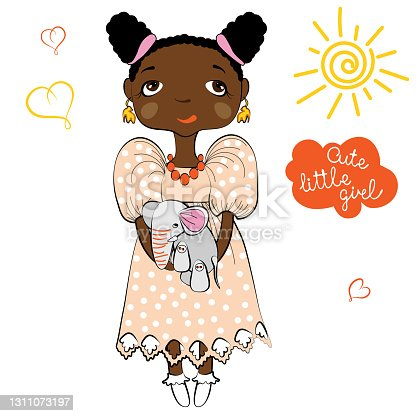 istock Cute little African girl in dress holding elephant toy. Cartoon style. 1311073197