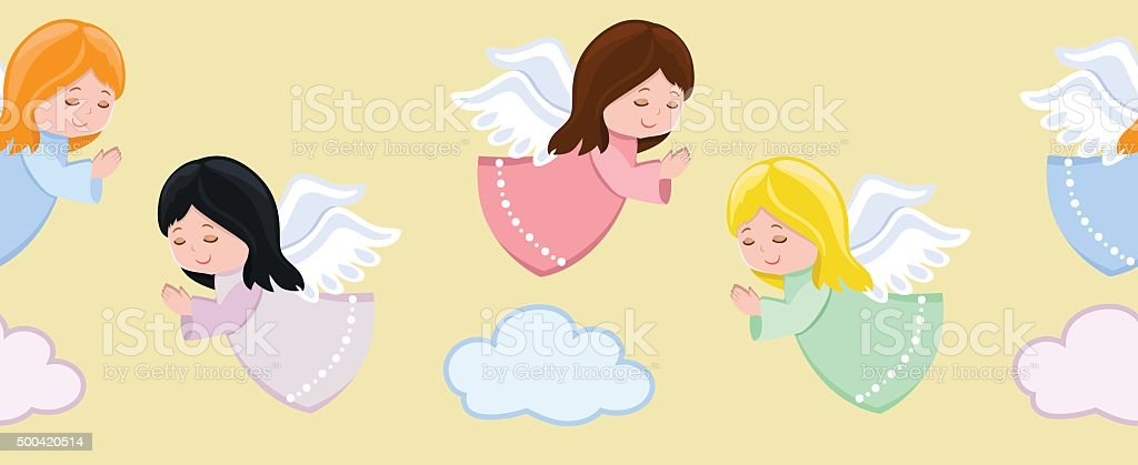 Cute little angels flying in sky.Seamless background.Vector illustration. vector art illustration