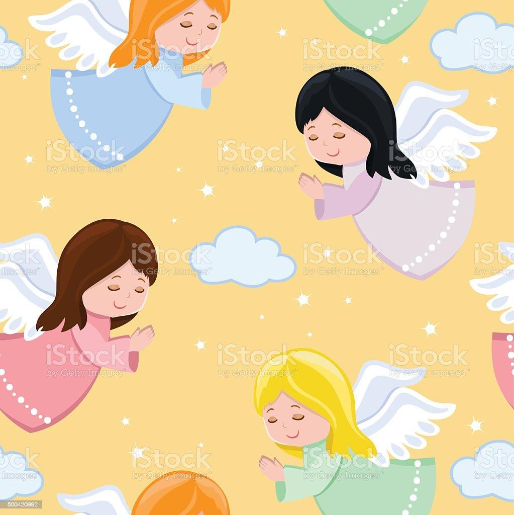 Linda poco angels volando en sky.Seamless background.Vector ilustración. - ilustración de arte vectorial