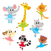 Cute little animal characters, ballet dancers in pointed shoes and tutu skirts