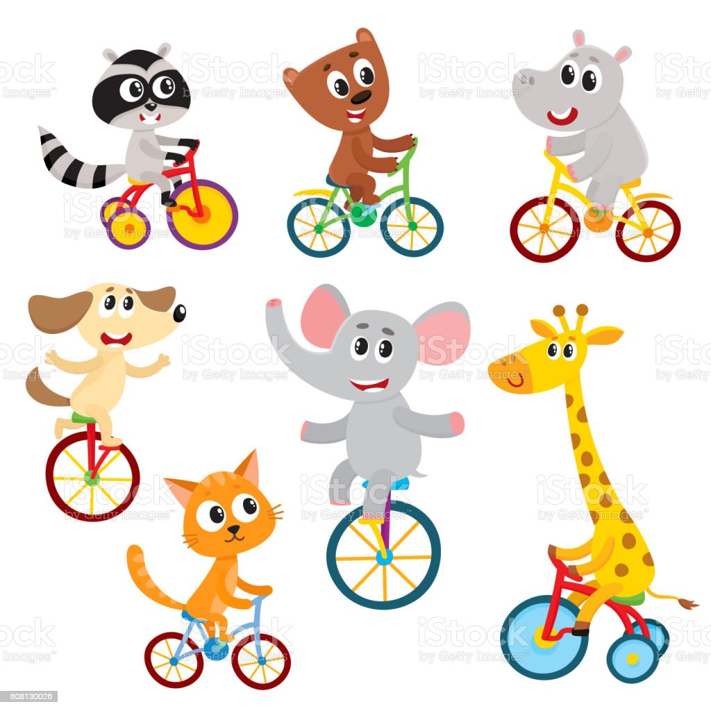 Cute little animal characters riding unicycle, bicycle, tricycle, cycling vector art illustration
