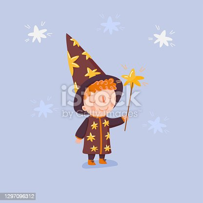 istock Cute little astrologer with hat, dress and gold star stick in hand. Young boy in wizard costume. Cartoon character. Stock vector illustration for kids t-shirt print, poster, play card, banner, cover 1297096312
