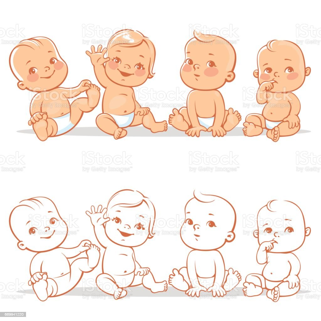 Cute little babies set. vector art illustration