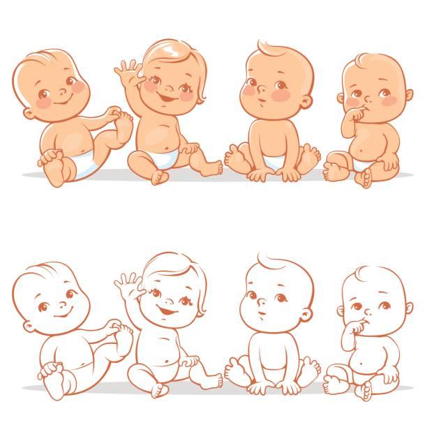 Cute little babies set. vector art illustration