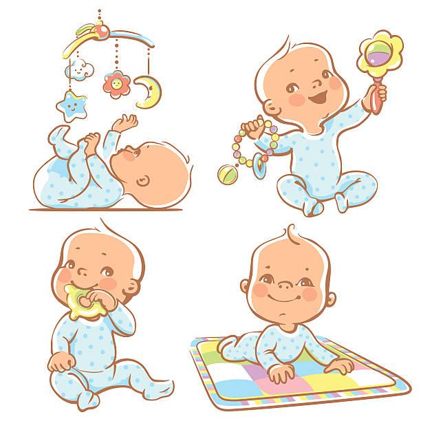 ilustrações, clipart, desenhos animados e ícones de bonito pequeno bebês com diferentes brinquedos. - mobile