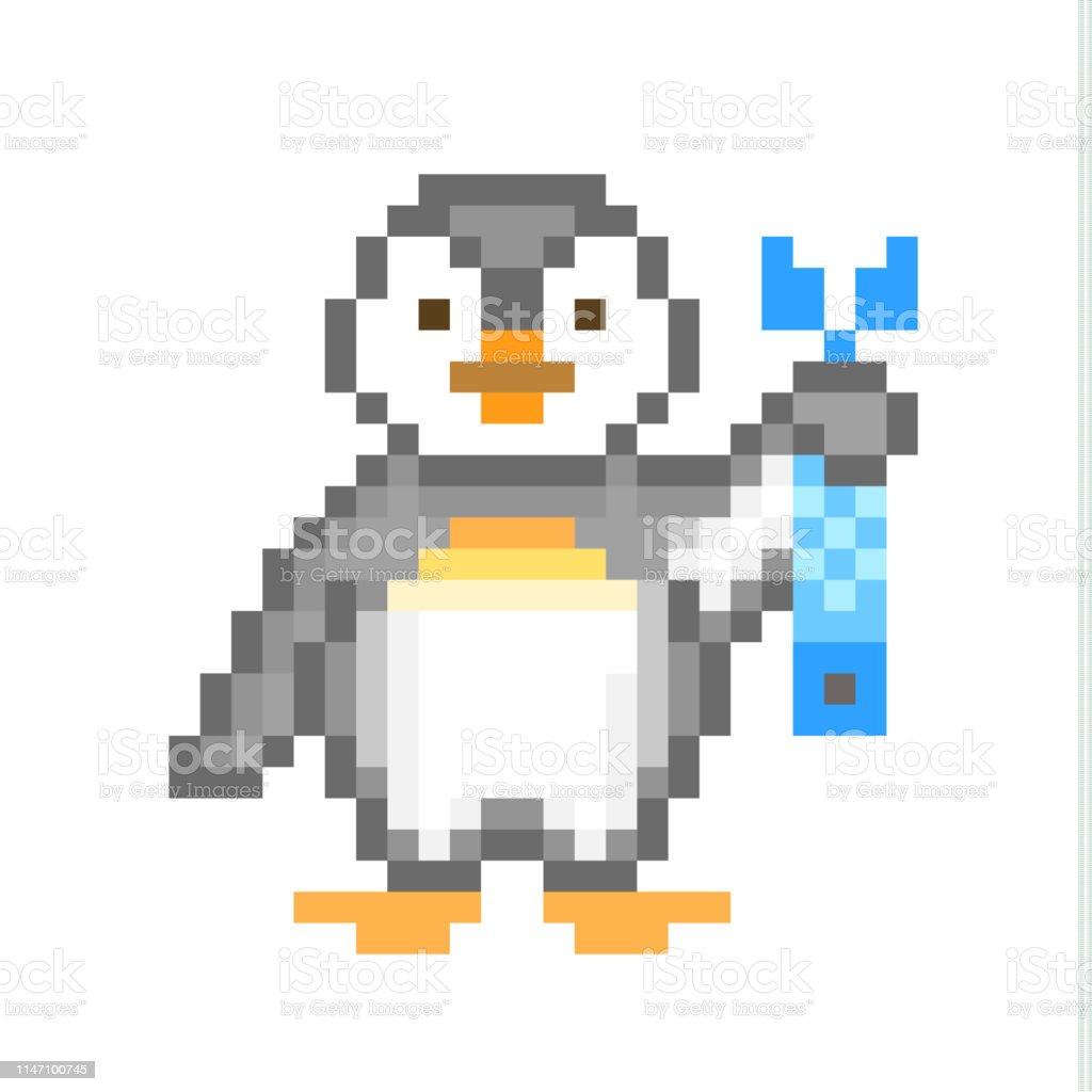 Pingouin Mignon De Petit Empereur De Chéri Retenant Un