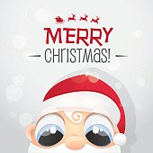 cute little baby face santa claus curiously watching at you- cartoon style vector illustration for christmas greetings
